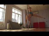 Pole dance,  колесо на пилоне, тренировка май 2013